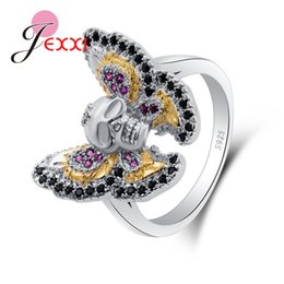 $enCountryForm.capitalKeyWord NZ - JEXXI Hot Sale 925 Sterling Sier Punk Styles Skull Butterflies Finger Rings With Crystals for Women Party Jewelry Gift