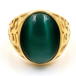 Stainless Steel Boy Ring NZ - Vintage Men Boy Oval Big Cat's eye stone Green Black Stones Ring Stainless Steel Jewelry Mens Women Gold Rings Wholesale