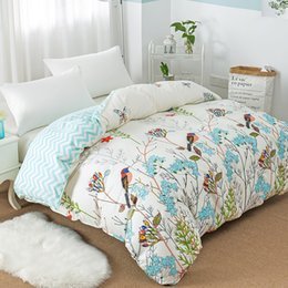 Light Green Comforters Canada - New Flower Birds Pattern Duvet Cover with Zipper 100% Cotton Quilt Cover Soft Comforter Twin Full Queen King Free Shipping