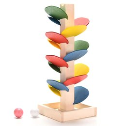 Wood Game Ball Australia - Wooden Tree Marble Ball Run Track Game Baby Montessori Blocks Kids Children Intelligence Educational Model Building Toy