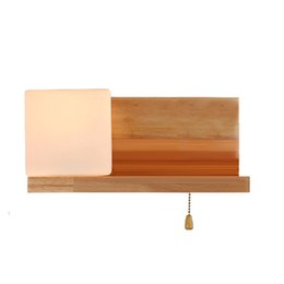 Chinese  OOVOV Simple Modern Wooden Bedroom Wall Lamps Creative Living Room Wall Lights Balcony Hallway Wall Light manufacturers