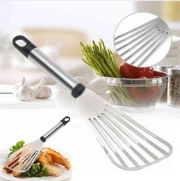 Flat spatula online shopping - JX LCLYL Useful Stainless Steel Flat Fish Slice Frying Spatula Leaky Shovel Kitchen Tool