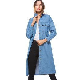 Wholesale Full Sleeve pockets European Long Windbreaker Solid button Ladies Overcoat Elegant Loose Women Denim Trench Coat Spring
