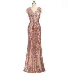 $enCountryForm.capitalKeyWord UK - 2018 Cheap Bridesmaid Dresses Under 100 Mermaid Deep V-neck Floor Length Sequins Sparkle Wedding Party Dresses