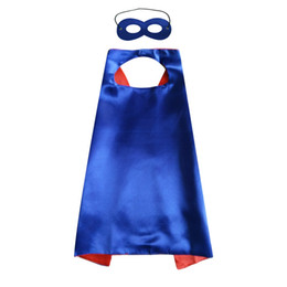 costume mask movie UK - Plain party favor cape with mask set rich color superhero cosplay cape 6 colors choice double layer cape