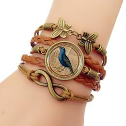 Blue Bird Bracelet online shopping - Hot Sale New Blue Bird Vintage time gem Bracelet Men Western Style Woven Bracelets Bangles For Women Fashion Jewelry Gift