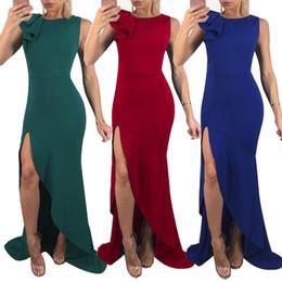 7b7d97142274 Comercio al por mayor 2018 Temperament Commuting Split Lotus Leaf Edge  Designer Dress Versión coreana Maxi Casual Dresses cuello redondo ropa de  mujer