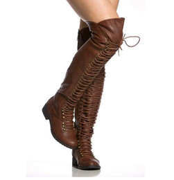 f17dd5813a6 Women Winter Fashion Round Toe Black Brown Leather Lace-up Knee High Flat  Gladiator Boots High Quality Long Knight Boots