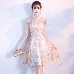 5e33b400f3 New Arrival Women Lace Sexy Vintage Cheongsam Novelty Chinese Style  Mandarin Collar Dress Ladies Jacquard Short Qipao S-XXL