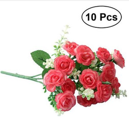silk single roses for wedding UK - 10 Pcs Artificial Rose Silk Single Stem with 15 Branches Fake Plants Simulation Flowers for Party Wedding Home Decoration
