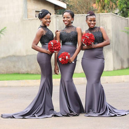 $enCountryForm.capitalKeyWord NZ - Sexy Grey Mermaid Bridesmaid Dresses High Neck Lace Applique Beading Satin Sweep Train For Black African Women Cheap Prom Evening Dress Gown