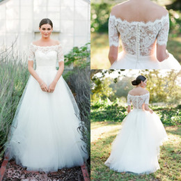 Vintage corset coVer online shopping - 2018 Off Shoulders A line Wedding Dresses Lace Elegant Short Sleeves Corset Button Back Corset Country Bridal Gowns