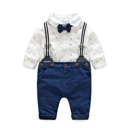 72a8266127a Baby Boy Clothes 2018 Little Kids Boy Floral Bow Rompers with Denim  Overalls Boy Spring Gentleman Outfits Kids Clothing sets