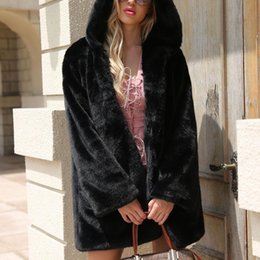 Black Faux Fur Pillows Canada - Winter Warm Hooded Large Size Medium Length  Solid Color Faux 24cf639133