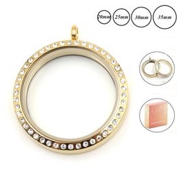 jewelry gold floating locket 2019 - Fashion Jewelry Pendants wholesale 20 25 30mm 35mm gold screw top 316L Stainless steel floating locket with crystals loc