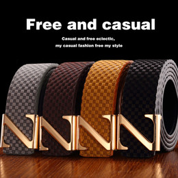 Z Buckle Leather Belt UK - Men's Leather Belt Printed Grained Leather Belt, Black Brown Gray Yellow Leather Belt, Z-Button