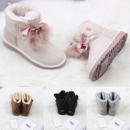 Bow shoes flats online shopping - 2018 WGG Women s Australia Classic tall Boots Women girl boots Boot Snow Winter black blue Bow tie boots leather shoes size