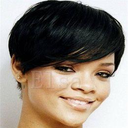 $enCountryForm.capitalKeyWord NZ - 2017 New Pixie Cheap Human Cut Hair Wig Rihanna Black Short Cut Wigs For Black Women African American Celebrity Wigs Hot Sale