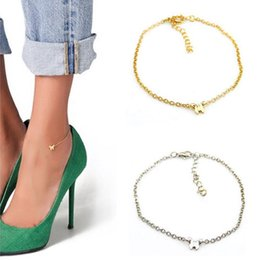 Anklet Toe Chain Australia - Women Beach Barefoot Toe Butterfly Chain Link Foot Anklet Chain Jewelry