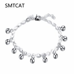 1432f7db3743 Fashion Baby Kids Women 925 Jewelry Sier Color Filled Lovely Smooth Jingle  Bell Charm Bracelet Bangle pulseras mujer moda 2018