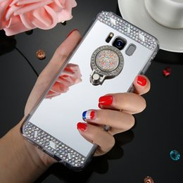 Phone Holder Crystal Plastic NZ - For iphone 7 plus cases Luxury Mirror Case Cover With Crystal Finger Ring Holder TPU Diamonds Phone Cases