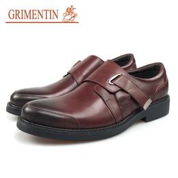 Male Leather Shoes Sale Australia - GRIMENTIN Brand Mens Dress Shoes Genuine Leather Black Brown Buckle Strap Business Wedding Casual Men Shoes Hot Sale Fashion Male Shoes