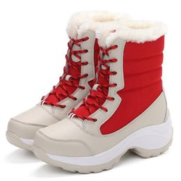 female big boots Canada - Big Size Winter Boots Women Warm Snow Boots Winter Women Keep Warm Shoes Female Mid-Calf Platform Boots 2019 Woman Shoes F249