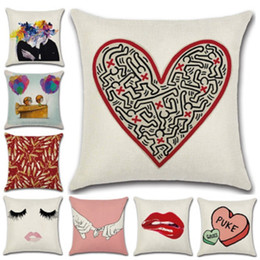 Wholesale New Pillow Cover Hot Cotton Couples Valentine s Day Cushion Cover Theme Mission Red Lips Pillow Case Love Hug pillowcase Home Decor