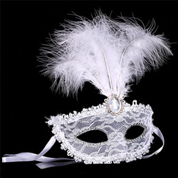China Woman Girl feather mask lace fringed pearl party mask venetian costume ball bar masquerade gift halloween decor cheap feathers masquerade ball suppliers