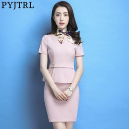 bf3ff47377f PYJTRL 2018 Women Summer Beautician Work Clothes OL Twinset Hotel Reception  Occupation Short Sleeve Female Business Skirt Suit