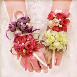 $enCountryForm.capitalKeyWord Australia - 10pcs lot high quality wedding Decorative wrist hand flowers bride bridesmaids wrist corsages groom corsages boutonniere white