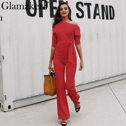 8945584dc87 Glamaker Cold shoulder bandage jumpsuit Elegant slim brief spring jumpsuit  romper Work office business long pants playsuit 2018Y1882902