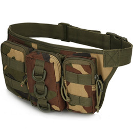 wholesale sport pack bags Canada - Molle 3P Military Tactical Fanny Pack Travel Outdoor Sports Hiking Ride Cell Phone Holder Storage Pouch Chest Shoulder Pack Belt Waist Bag