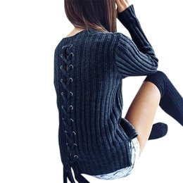 15470379ae Knit Pullover Sweaters Sexy Bandage Ribbed Slim Knitted Sweater Lace Up  Tops Long Sleeve Women 2018 Autumn Winter Shirt GV410