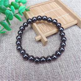 Cool Magnets NZ - Fashion Healthy Care Black Magentic Hematite Beads Bracelets For Man Cool Black Stone Magnet Bracelet Healthy Jewelry Hot Sale 6mm Bead
