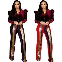 a5dcb10eea5fe5 Fashion Women long Pants sexy sequins stitching trousers sexy Club High  Waist Flare Pants Leggings Clothes Casual micro - flare pants 811