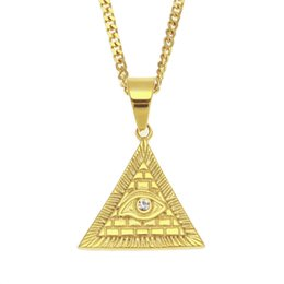 gold horus pendant UK - Eye of Horus Pendant Necklace Gold Plated Stainless Steel Inlaid Rhinestone Triangular Pendant 60cm Cuban Chain