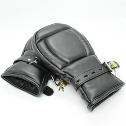 Leather Gloves For Men Australia - adult game Locking Goth Padded Mittens Gloves Dog Paw Palm Leather Bondage Restraints Sex Toys For woman men Couples Products Y18102405