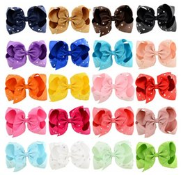 Cheerleader Hair Canada - Jojo Hair Bow With Rhinestone Plain Diamond Hair Bow Pageant Rainbow Gradient Bow For Dance Cheerleader Girl