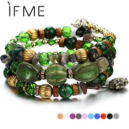 $enCountryForm.capitalKeyWord NZ - IF ME Bohemian Stone Beads Bracelets for Women Vintage Crystal Tibetan Ethnic Beaded Wrap Charm Bracelet Bangle Jewelry 2018 New