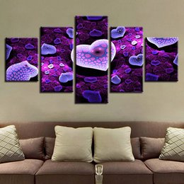 $enCountryForm.capitalKeyWord Australia - Modular Canvas Painting Wall Art Framework 5 Pieces Purple Hearts On Snake Pattern Pictures Home Decor Bebroom HD Prints Poster