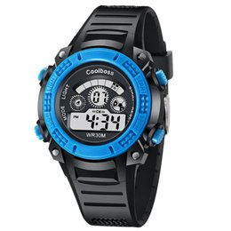 kids digital sports watch Australia - Wholesale Alarm Coolboss Children Watch LED Digital Watches Rubber Student Outdoor Wristwatches Kids Waterproof Sport LED Watches