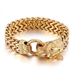 $enCountryForm.capitalKeyWord NZ - Punk Rock 25CM Dragon Head Cool Mens Bracelets & Bangles Gold Color Stainless Steel Chain & Link Bracelet Men Jewelry