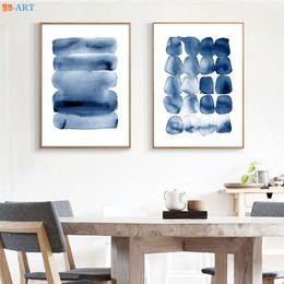 $enCountryForm.capitalKeyWord Australia - Watercolor Abstract Canvas Prints Wall Art Minimalist Painting Navy Blue Large Poster Ink Brush Stroke Home Decor Framed