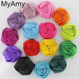 Discount roses for hair - 60pcs lot 1.8''-2'' Satin Rolled Rosettes,Handmade Satin Rose Flowers,Fabric Flower,BABY girls hair