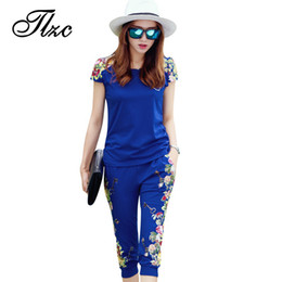 China TLZC Fashion Flowers Printed Women Tracksuit Casual T-shirts + Pants Lady Clothing Suit Size L-4XL China Style Summer Lady Sets Y1891901 cheap ladies cotton shirts full sleeve suppliers