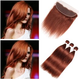Discount straight hair color 33 - Dark Auburn Brazilian Human Hair Weaves with Frontal Closure Straight #33 Copper Red Virgin Hair Bundles Deals with Full