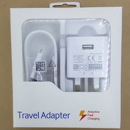 Wholesale High quality UK plug W v1 A fast charger usb charge adapter pin power dock travel adapter with ft micro cable kit with retail box