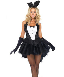 bunny costumes women UK - Sexy Halloween Bunny Costume For Women Lovely Female Miniskirt Sexy Party Costumes Cosplay Fancy Dress Clubwear Party Wear