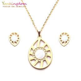 $enCountryForm.capitalKeyWord Australia - Yunkingdom pretty water-drop design stainless steel jewelry sets for women pendant necklace stud earrings UE0259
